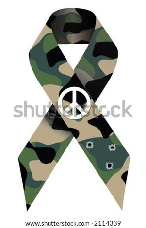 Military Peace Ribbon - stock vector