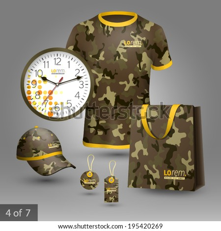 Military promotional souvenirs design for company with camouflage pattern. Elements of stationery. - stock vector