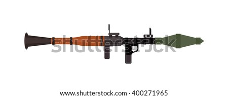 Military rifle army anti-tank rocket grenade gun and weapon vector illustration. Machine metal anti-tank rocket grenade gun. Security war machine anti-tank rocket grenade gun weapon. Submachine gun - stock vector