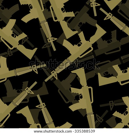 Military rifle seamless pattern. 3d background of machines gun. Army ornament.  - stock vector