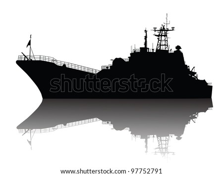 Military ship silhouette with reflection. Vector illustration - stock vector