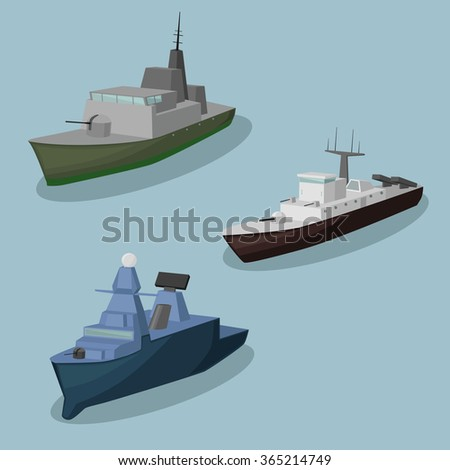 Military ships vector image design set for you illustration and design needs. - stock vector