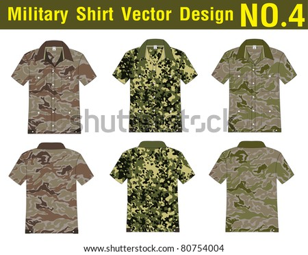 Military Shirt Vector template. front and back view for design work - stock vector