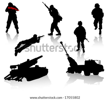 Military silhouette collection. Soldier,  tanks and trucks