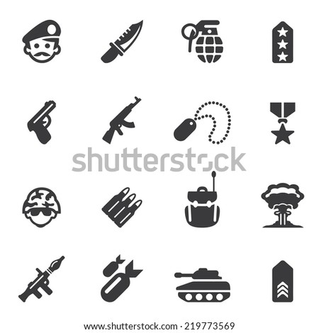 Military Silhouette icons - stock vector