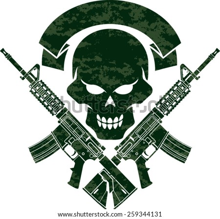 military skull with crossed assault rifles - stock vector