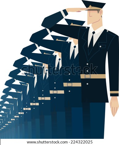 Military soldier formation saluting vector illustration - stock vector