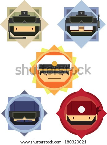 Military Soldier & Officer Cartoon Icons - stock vector