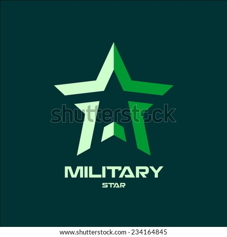 Military star logo template - stock vector