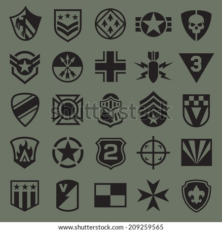 Military symbol icons 2 - stock vector