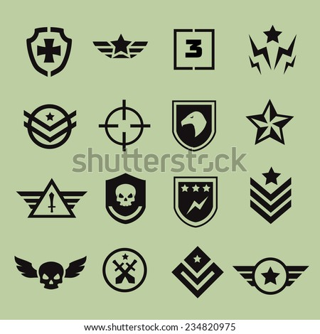 Military symbol icons vector - stock vector