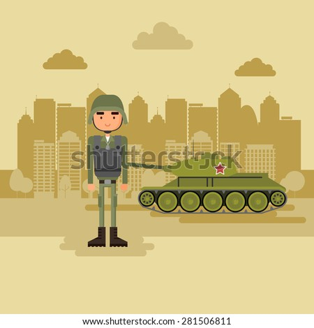 Military town in the background. Concept art military near the tank. - stock vector