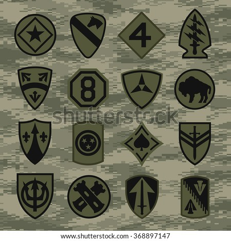 Military Unit Patch Insignia Set Green Stock Vector