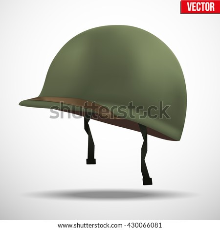 Military US green helmet infantry of WWII. Side view. Metallic army symbol of defense. Vector illustration Isolated on white background. Us helmet, armor helmet, war helmet, army helmet, ww2 soldier.