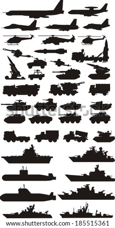 military vehicle plane and boats silhouettes