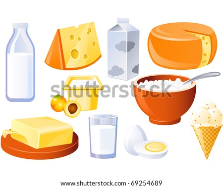 Milk and farm products - stock vector