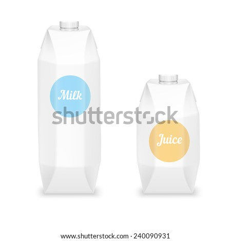 Milk And Juice Packages. - stock vector
