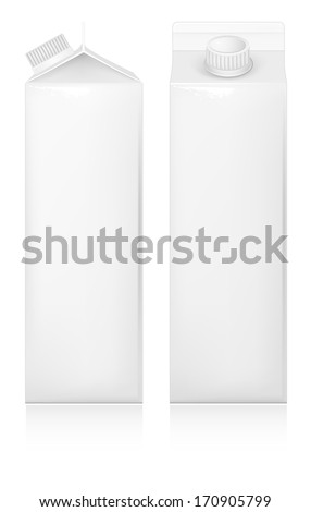 Milk and juice white carton package. Vector illustration. - stock vector