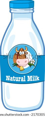 Milk Bottle With Cartoon Label And Text - stock vector