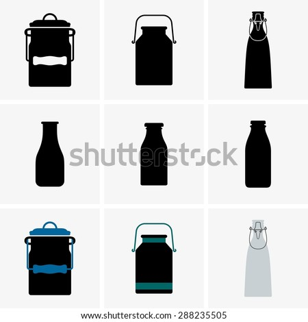 Milk cans and bottles - stock vector