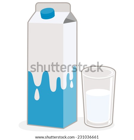 Milk carton and glass of milk. Illustration of a milk carton and a served glass of milk on white background, isolated.  - stock vector