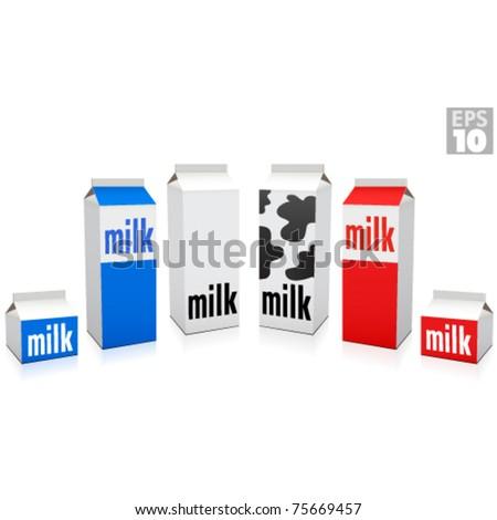 Milk cartons, whole and 2 percent milk - stock vector