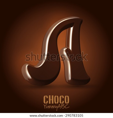 Milk chocolate retro curved glossy vector dark 3d typeset - capital A - stock vector