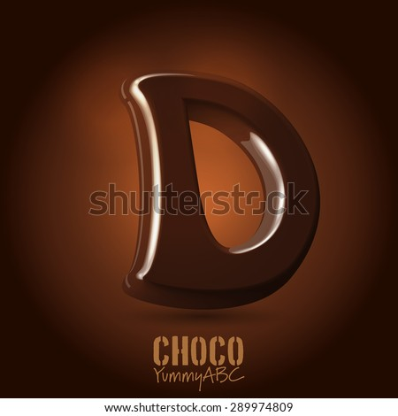 Milk chocolate retro curved glossy vector dark 3d typeset - capital D - stock vector