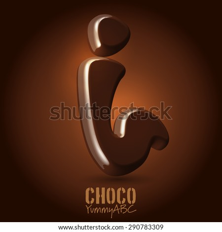 Milk chocolate retro curved glossy vector dark 3d typeset - i - stock vector