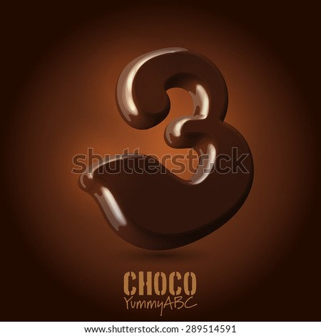 Milk chocolate retro curved glossy vector dark 3d typeset - numeral 3 - stock vector