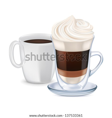 milk coffee with whipped cream and coffee cup isolated - stock vector