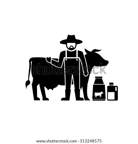 Milk cow farming .vector - stock vector