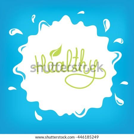 Milk drop, vector illustration, healthy food, drink, tasty milk - stock vector