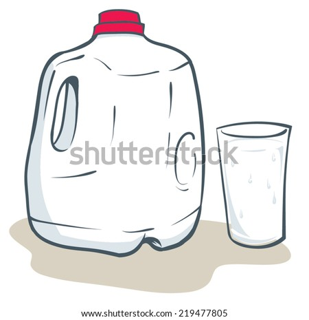 Milk gallon and glass of milk - stock vector
