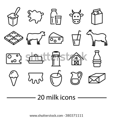 Milk icons. Dairy icons. Dairy products. Line icons. - stock vector