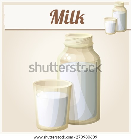 Milk in the glass and bottle. Detailed Vector Icon. Series of food and drink and ingredients for cooking. - stock vector