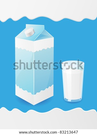 milk is in a package and glass vector illustration - stock vector
