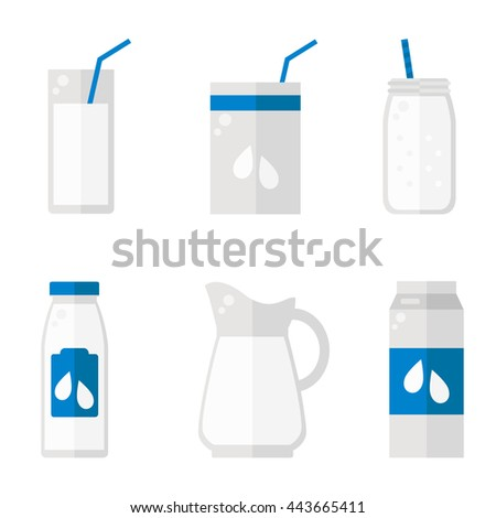 Milk isolated icons on white background. Milk bottle, glass, pack set. Flat style vector illustration.