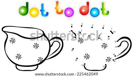 Milk jug dot to dot coloring book. Vector illustration for children - stock vector