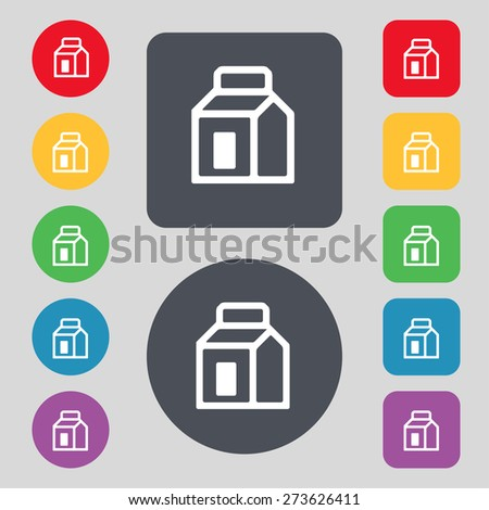 Milk, Juice, Beverages, Carton Package icon sign. A set of 12 colored buttons. Flat design. Vector illustration - stock vector