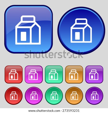 Milk, Juice, Beverages, Carton Package icon sign. A set of twelve vintage buttons for your design. Vector illustration - stock vector