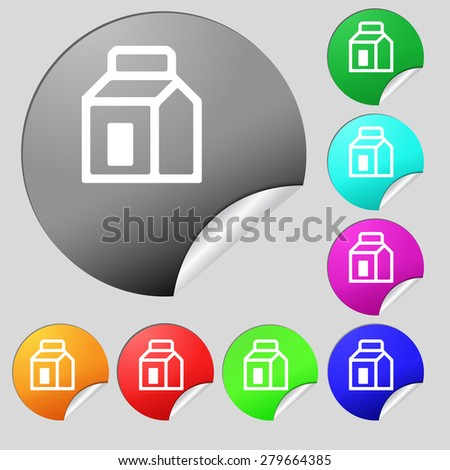 Milk, Juice, Beverages, Carton Package  icon sign. Set of eight multi-colored round buttons, stickers. Vector illustration - stock vector