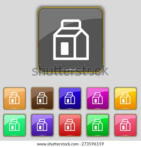 Milk, Juice, Beverages, Carton Package icon sign. Set with eleven colored buttons for your site. Vector illustration - stock vector