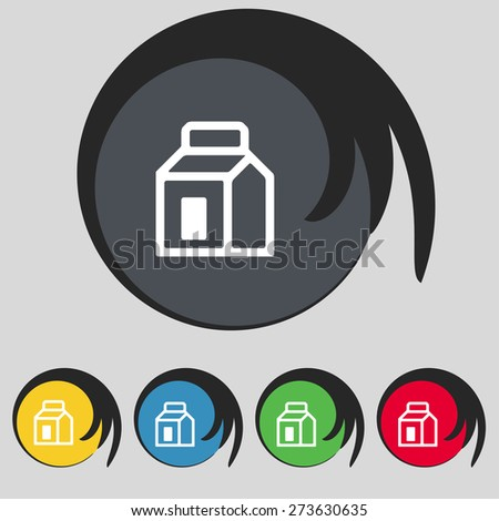 Milk, Juice, Beverages, Carton Package icon sign. Symbol on five colored buttons. Vector illustration - stock vector