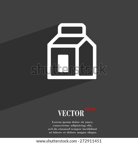 Milk, Juice, Beverages, Carton Package  icon symbol Flat modern web design with long shadow and space for your text. Vector illustration - stock vector