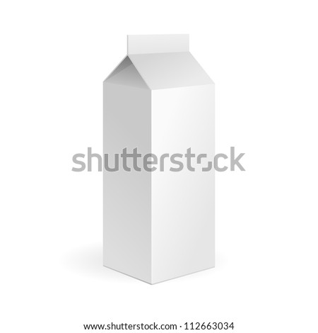 Milk, Juice Carton Package Blank White On White Background Isolated. Ready For Your Design. Product Packing Vector EPS10