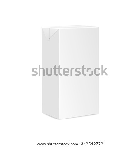 Milk Juice Carton Packaging Package  Box White Blank Isolated Vector - stock vector