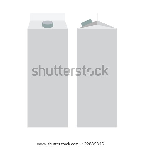 Milk, Juice Carton Packaging Package. White blank box. Flat color Vector