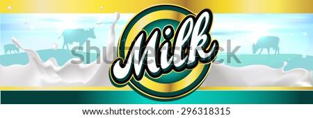 milk label design banner with milk splash, landscape and cow - vector - stock vector