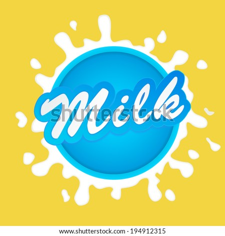 Milk label lettering - vector - stock vector